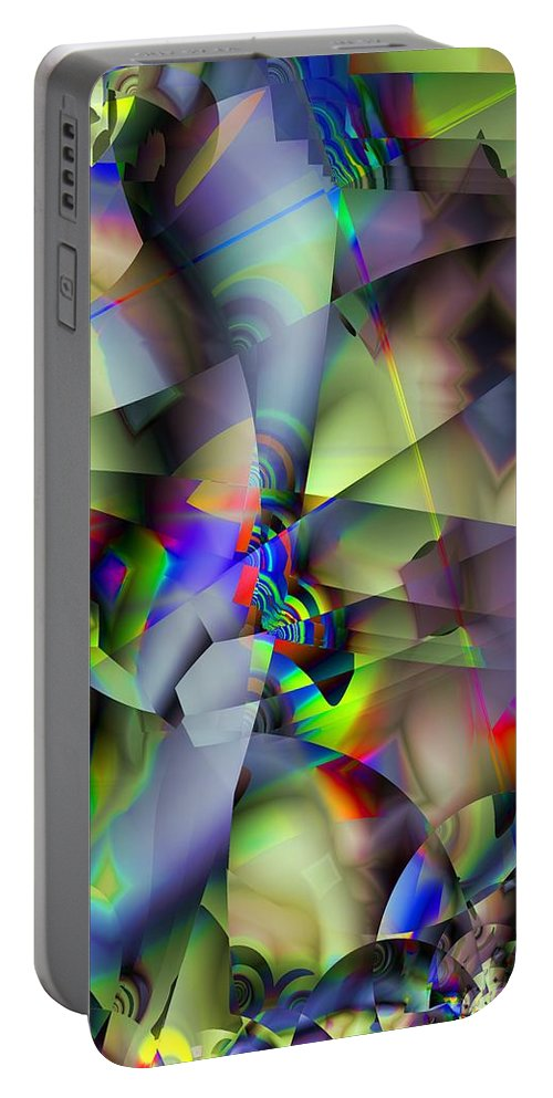 Fractal Portable Battery Charger featuring the digital art Fractal Cubism by Ron Bissett