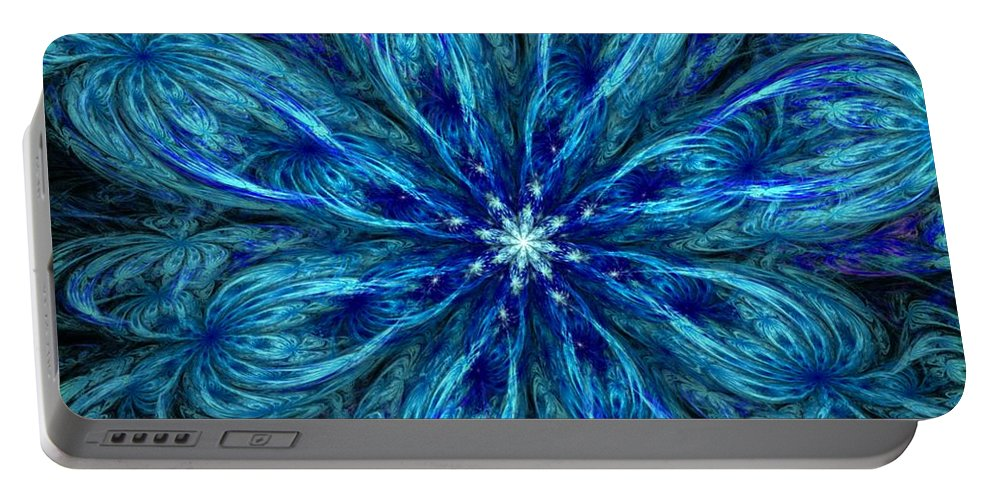 Abstract Portable Battery Charger featuring the digital art Fractal Flora 062610 by David Lane
