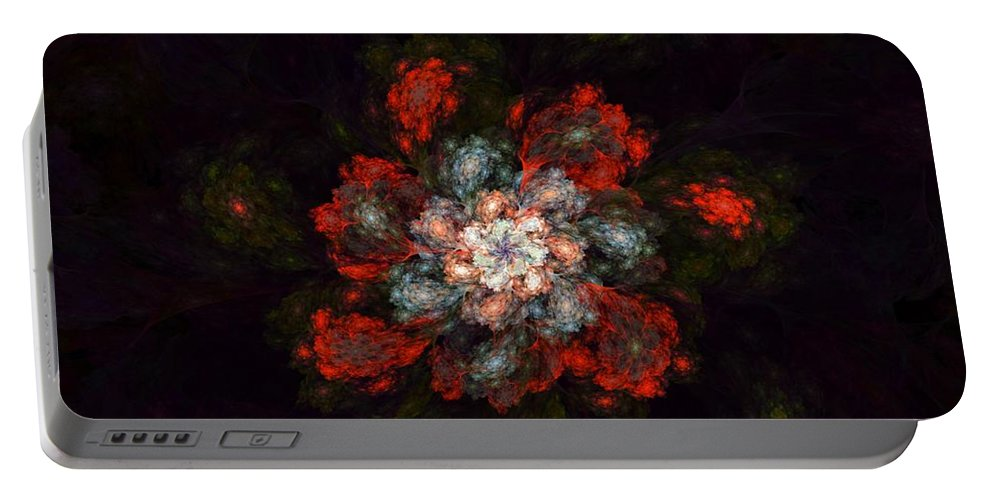 Digital Painting Portable Battery Charger featuring the digital art Fractal Floral 02-12-10-a by David Lane