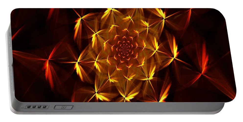Abstract Portable Battery Charger featuring the digital art Fractal Floral 062610a by David Lane