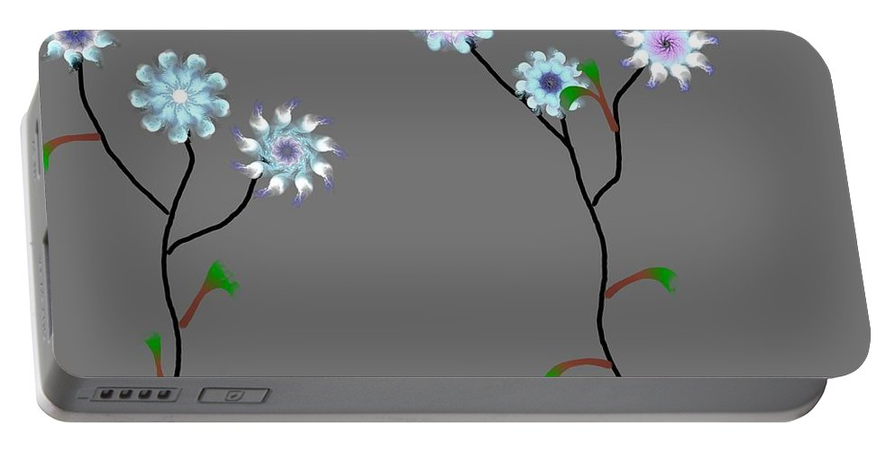 Digital Painting Portable Battery Charger featuring the digital art Fractal Floral 10-21-09 by David Lane
