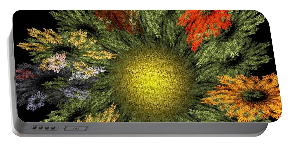 Fantasy Portable Battery Charger featuring the digital art Fractal Floral 12-05-09 by David Lane