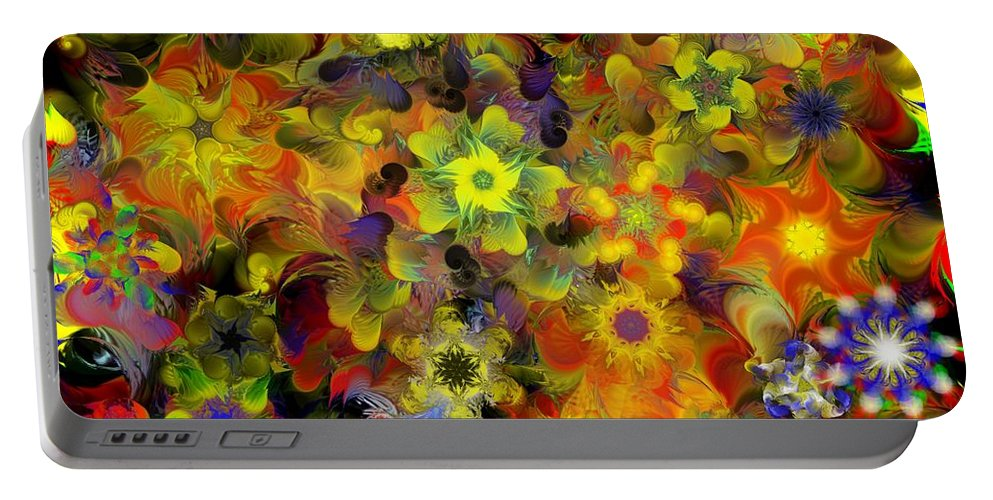 Digital Painting Portable Battery Charger featuring the digital art Fractal Floral Study 10-27-09 by David Lane