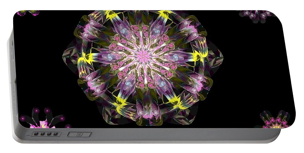 Digital Painting Portable Battery Charger featuring the digital art Fractal Flowers 10-20-09 by David Lane