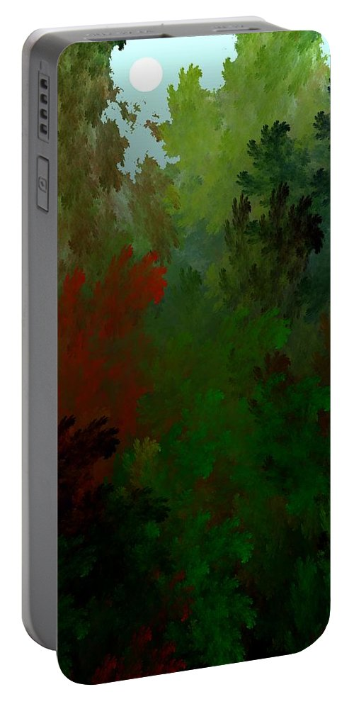 Abstract Digital Painting Portable Battery Charger featuring the digital art Fractal Landscape 11-21-09 by David Lane
