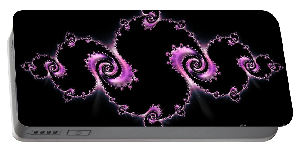 Fractal Spiral Portable Battery Charger featuring the digital art Fractal Spiral by Ann Garrett