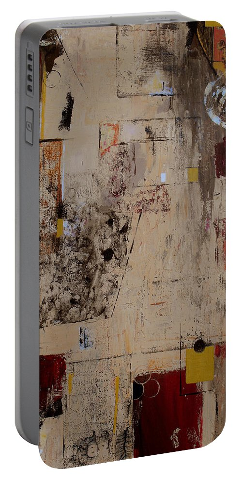 Abstract Portable Battery Charger featuring the painting Fractions by Ruth Palmer