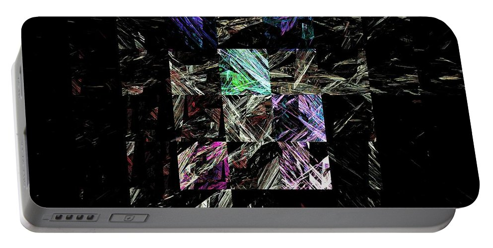 Abstract Digital Painting Portable Battery Charger featuring the digital art Fractured Fractals by David Lane