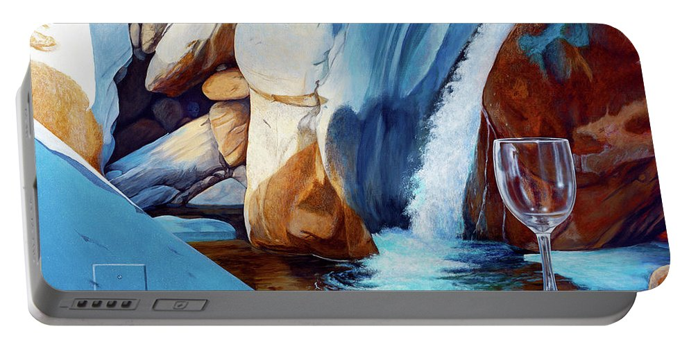 Landscape Portable Battery Charger featuring the painting Fragile Moments by Snake Jagger