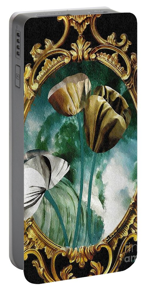Floral Portable Battery Charger featuring the mixed media Framed Flowers by Sarah Loft