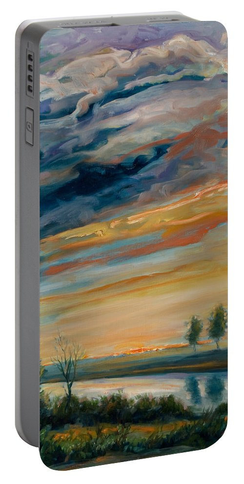 Water Portable Battery Charger featuring the painting France IIi by Rick Nederlof