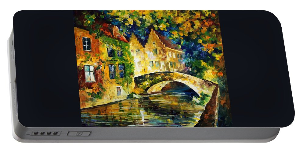 Afremov Portable Battery Charger featuring the painting France by Leonid Afremov