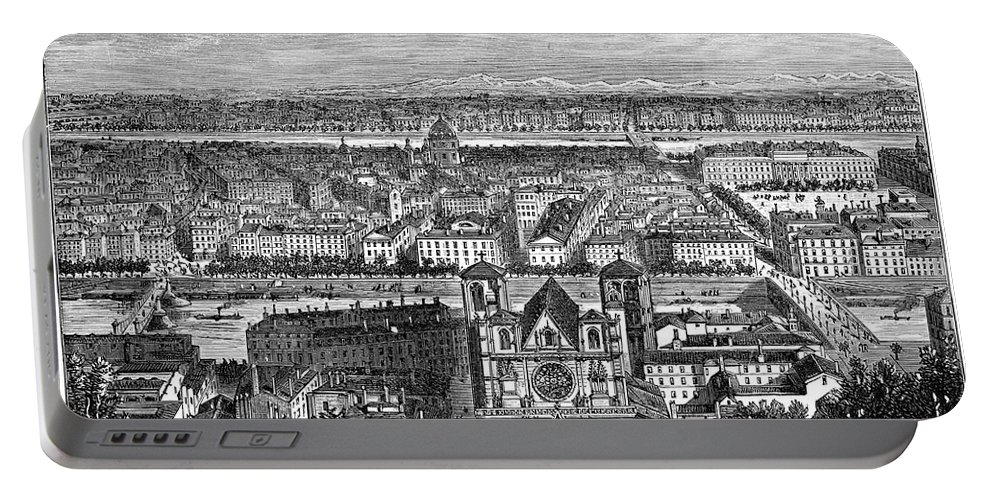 1894 Portable Battery Charger featuring the drawing France, View Of Lyon, C1894 - To License For Professional Use Visit Granger.com by Granger