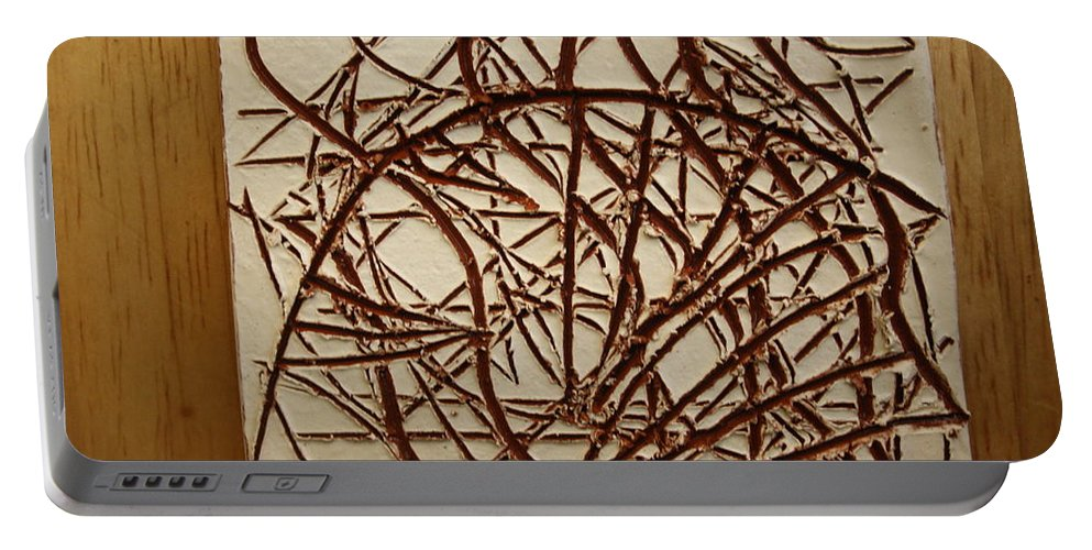 Jesus Portable Battery Charger featuring the ceramic art Frances - Tile by Gloria Ssali