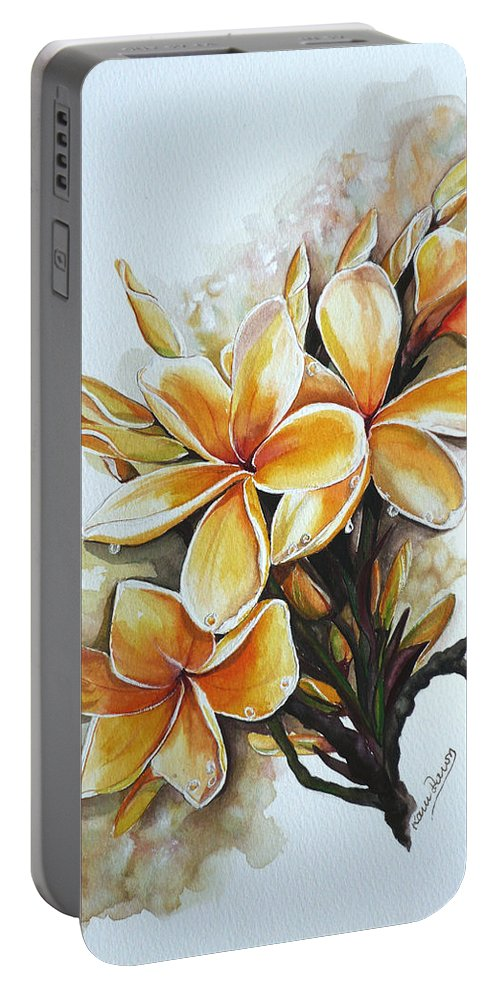 Caribbean Paintings Flower Paintings Floral Paintings  Portable Battery Charger featuring the painting Frangipangi  Sold by Karin Dawn Kelshall- Best