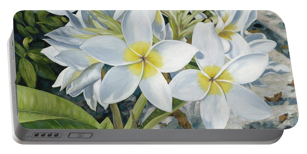 Frangipani Portable Battery Charger featuring the painting Frangipani by Danielle Perry