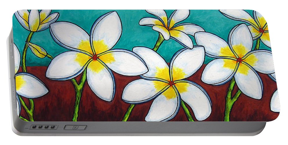 Frangipani Portable Battery Charger featuring the painting Frangipani Delight by Lisa Lorenz