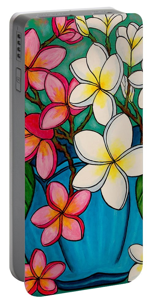 Frangipani Portable Battery Charger featuring the painting Frangipani Sawadee by Lisa Lorenz