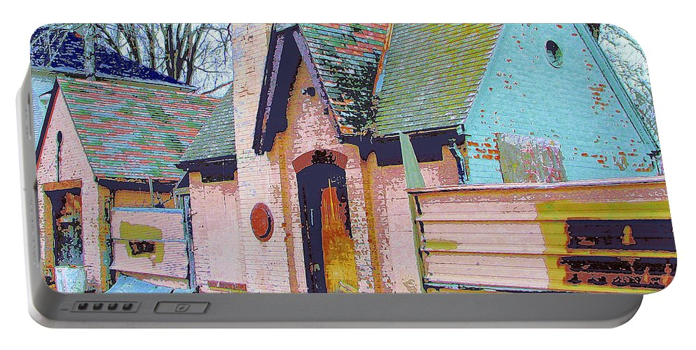 Old House Portable Battery Charger featuring the mixed media Frank Lloyd Wrong by Dominic Piperata
