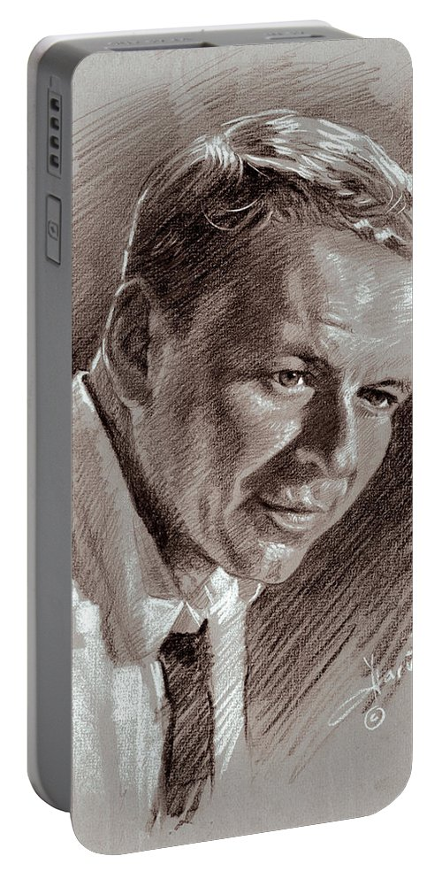 Frank Sinatra Portable Battery Charger featuring the drawing Frank Sinatra by Ylli Haruni