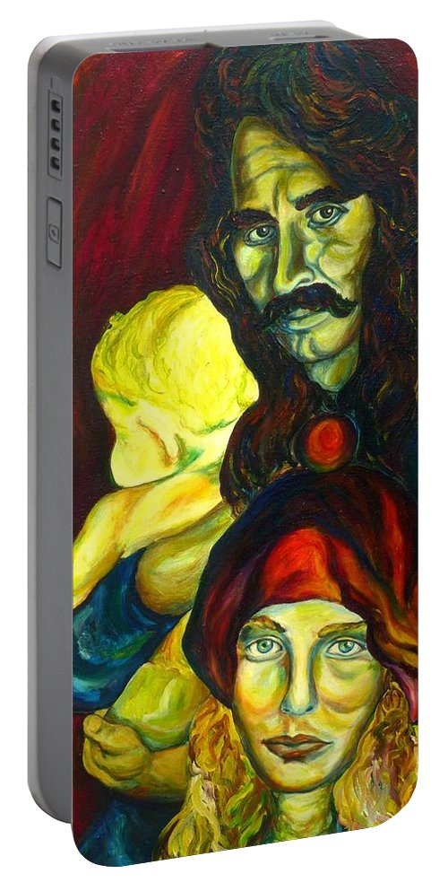 Frank Zappa Portable Battery Charger featuring the painting Frank Zappa  by Carole Spandau