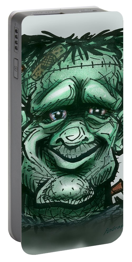 Frankenstein Portable Battery Charger featuring the greeting card Frankenstein by Kevin Middleton