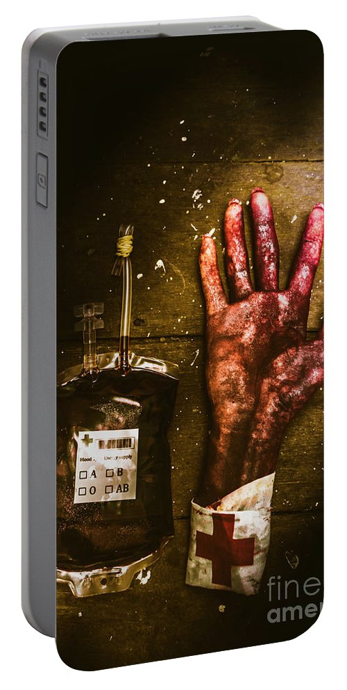 Severed Portable Battery Charger featuring the photograph Frankenstein Transplant Experiment by Jorgo Photography - Wall Art Gallery