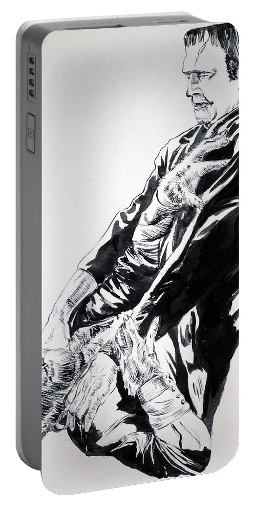 Frankenstein Portable Battery Charger featuring the painting Frankenstein Vs. The Wolfman by Bryan Bustard
