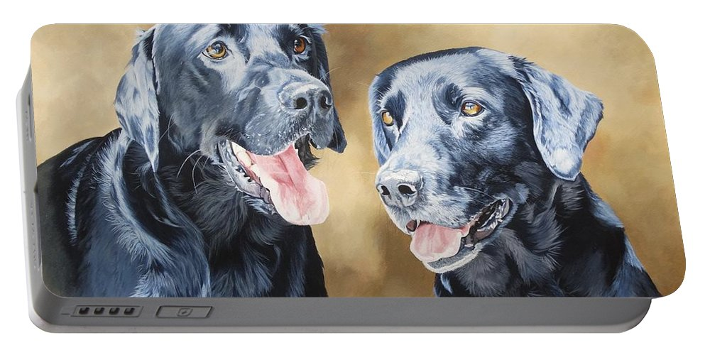 Labradors Portable Battery Charger featuring the painting Frankie And Ross by Julian Wheat