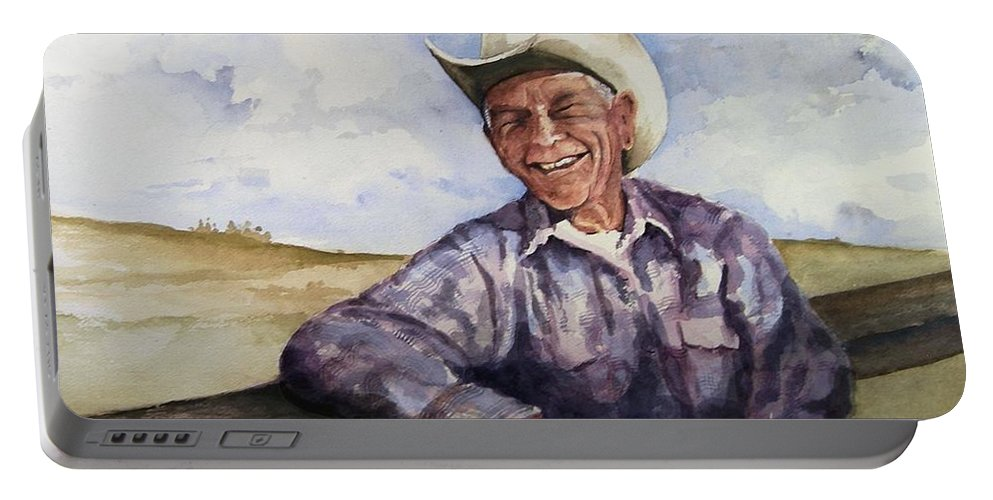 Cowboy Smile Friendly Happy Texan Texas Music Fiddler Portable Battery Charger featuring the painting Frankie by Sam Sidders