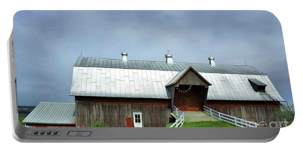 Rural Portable Battery Charger featuring the photograph Franklin Barn By The Lake by Deborah Benoit