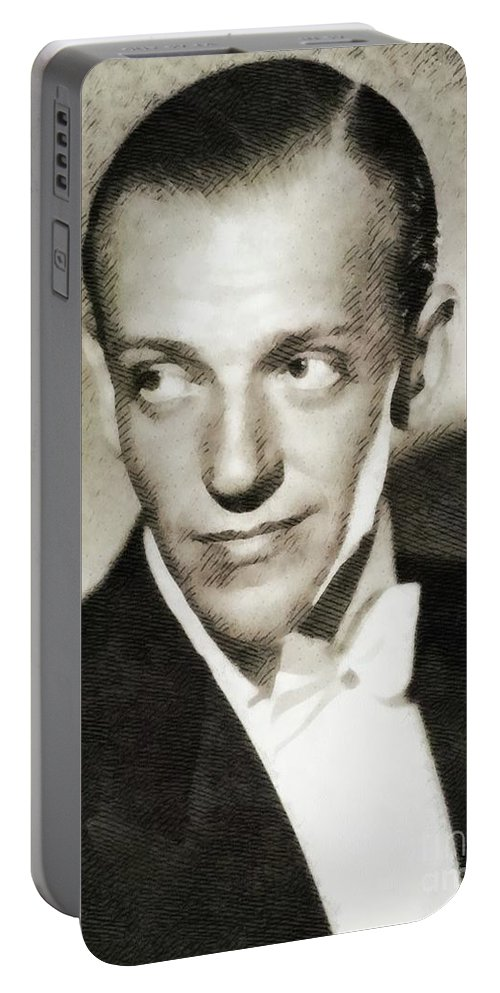 Fred Portable Battery Charger featuring the painting Fred Astaire, Vintage Actor And Dancer by John Springfield