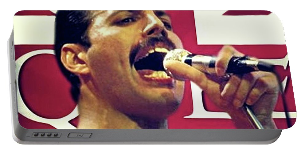 Freddie Mercury Portable Battery Charger featuring the mixed media Freddie Mercury, Queen by Thomas Pollart