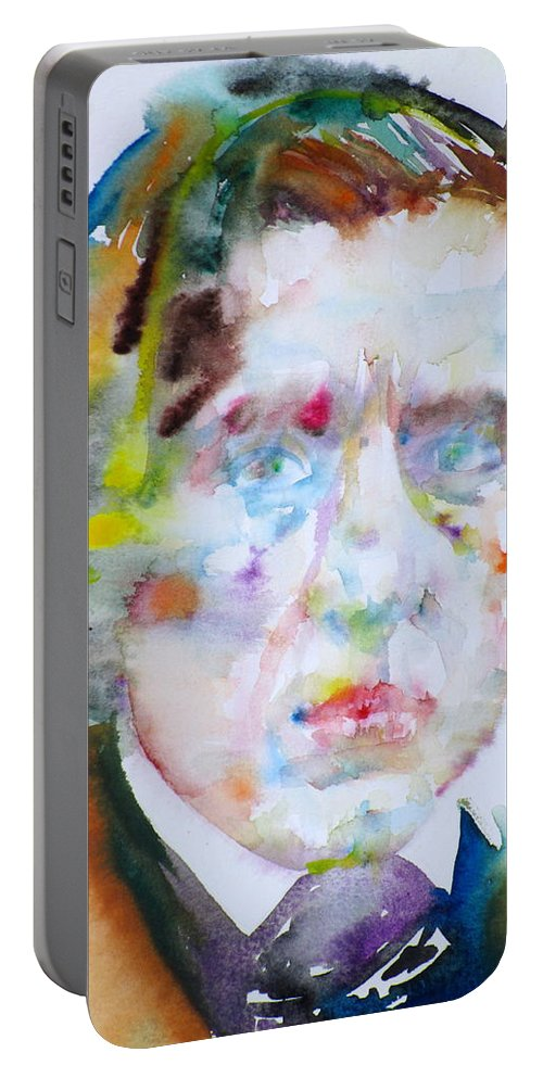 Chopin Portable Battery Charger featuring the painting Frederic Chopin - Watercolor Portrait by Fabrizio Cassetta
