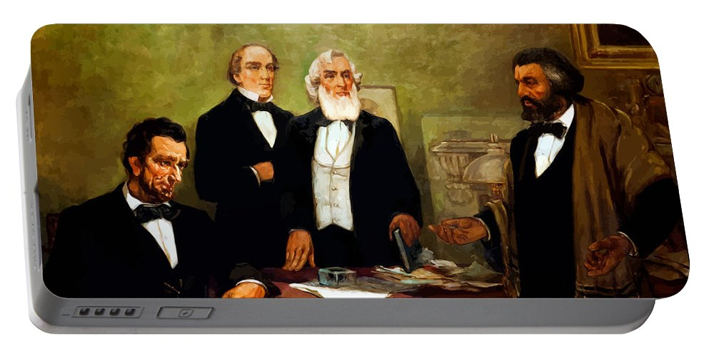 Frederick Douglass Portable Battery Charger featuring the painting Frederick Douglass Appealing To President Lincoln by War Is Hell Store