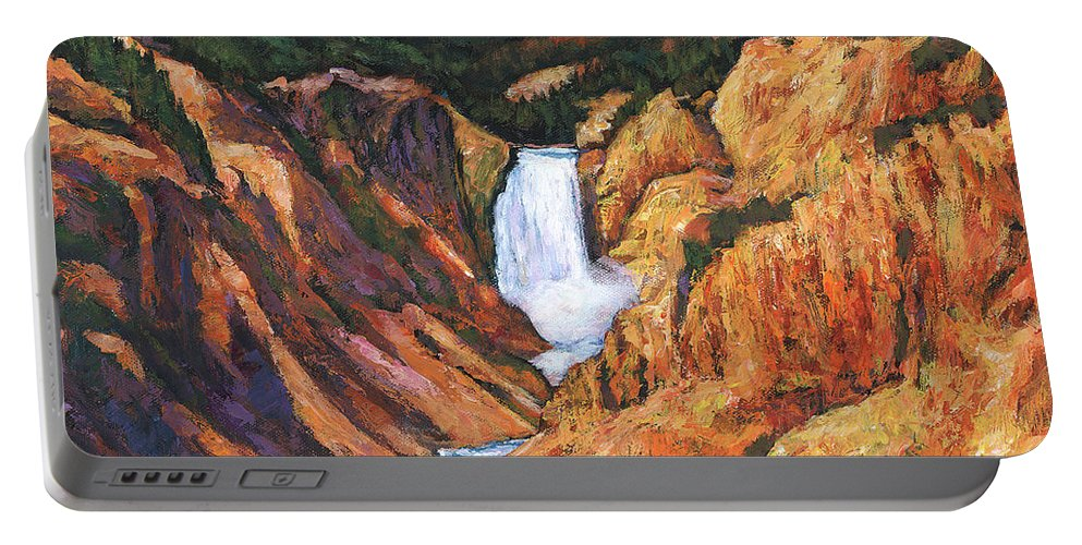 Wyoming Portable Battery Charger featuring the painting Free Falling by Johnathan Harris