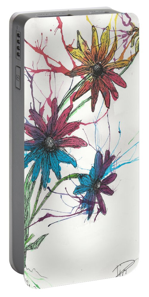 Flower Portable Battery Charger featuring the drawing Free Flow by Tim Ulenberg
