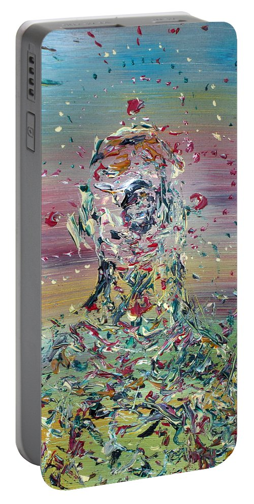 Abstract Portable Battery Charger featuring the painting Free Improvisation #4 -saint- by Fabrizio Cassetta
