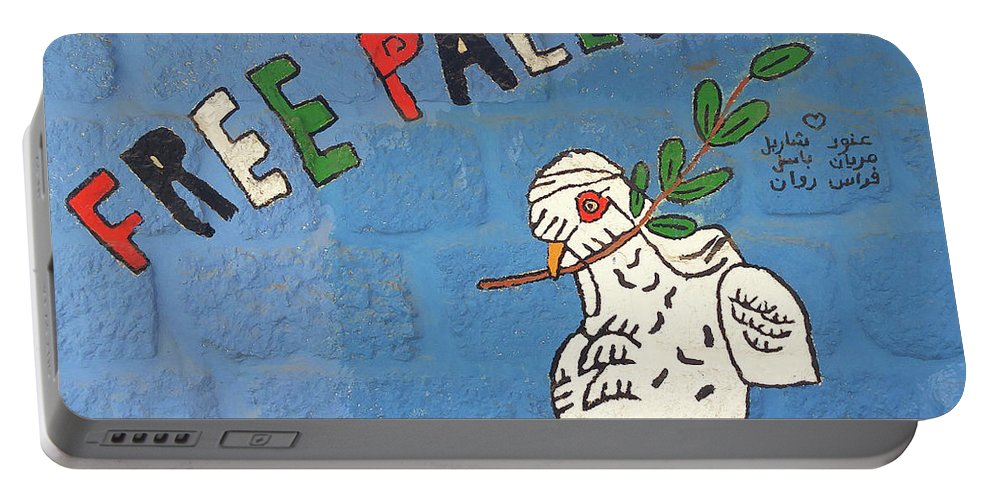 Dove Portable Battery Charger featuring the photograph Free Palestine Peace by Munir Alawi