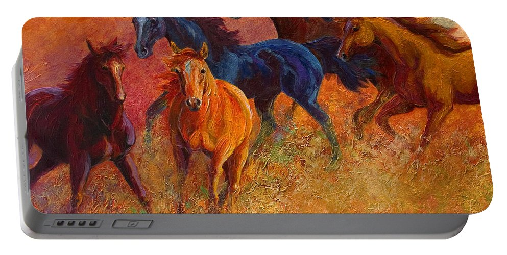 Horses Portable Battery Charger featuring the painting Free Range - Wild Horses by Marion Rose