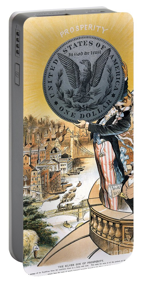1890 Portable Battery Charger featuring the photograph Free Silver Cartoon, 1890 by Granger