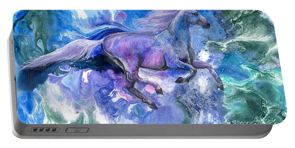 Horse Portable Battery Charger featuring the painting Free Spirit by Sherry Shipley