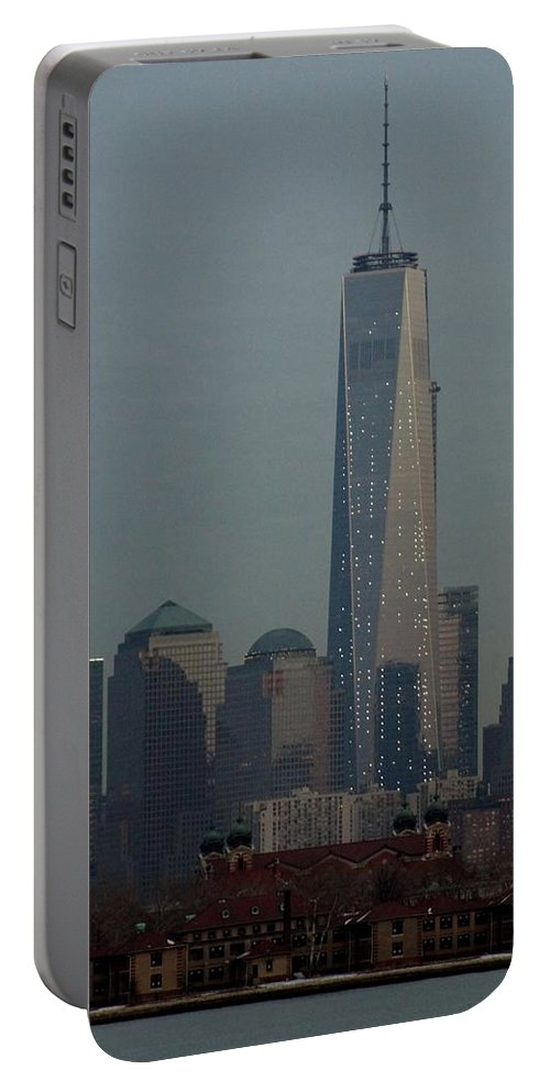 Freedom Portable Battery Charger featuring the photograph Freedom And Ellis Island by John Wall