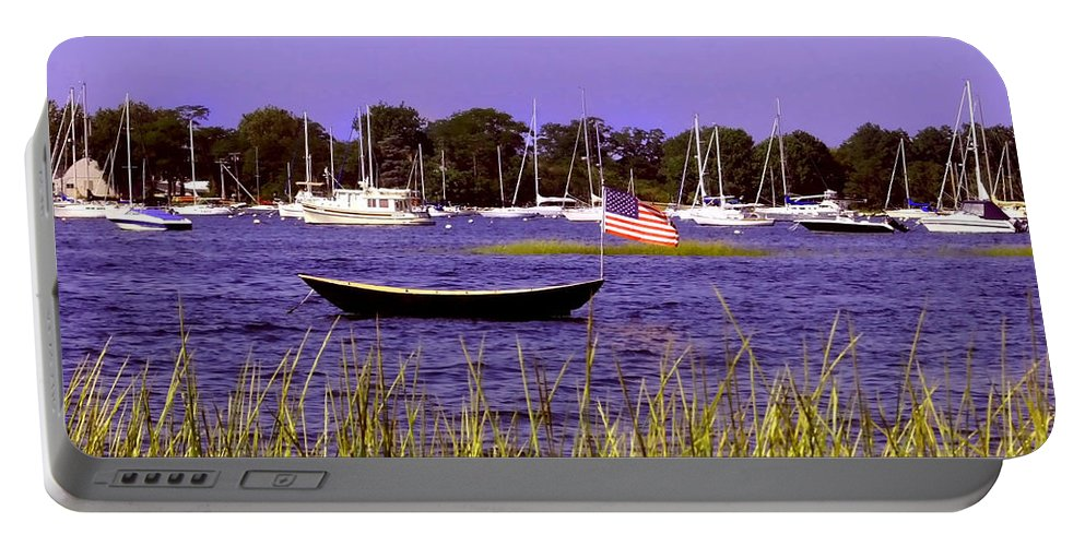 Oceans Portable Battery Charger featuring the photograph Freedom Bristol Harbor Rhode Island by Tom Prendergast