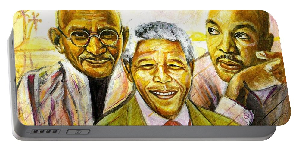 Portrait Paintings Portable Battery Charger featuring the painting Freedom Hero by Wale Adeoye