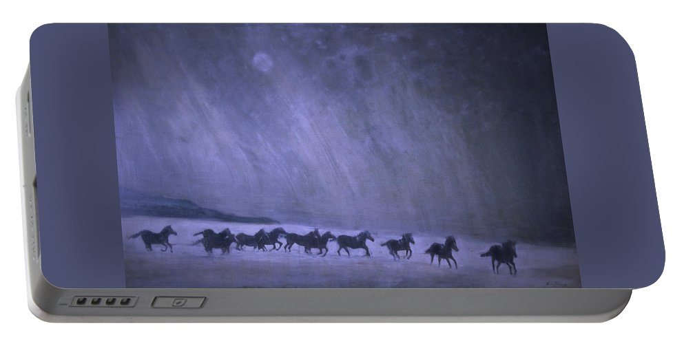 Horse Portable Battery Charger featuring the painting Freedom by Jarmo Korhonen aka Jarko
