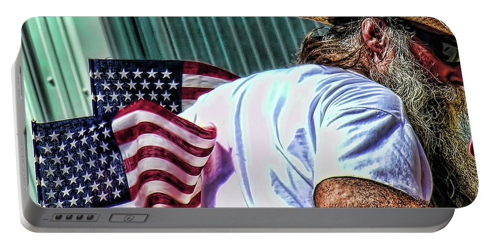 Flags Portable Battery Charger featuring the photograph Freedom Man by Adam Vance