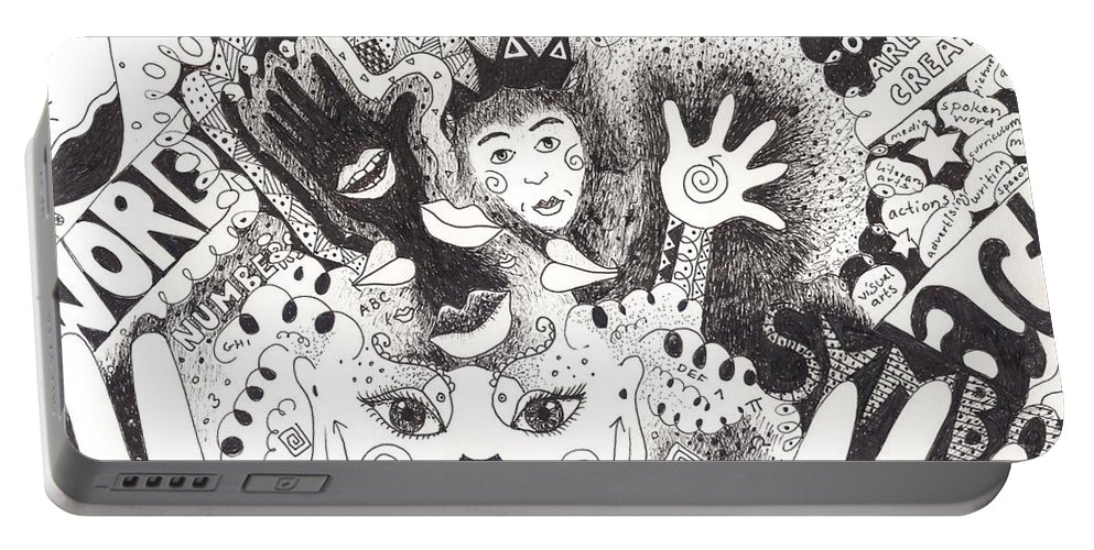 Speech Portable Battery Charger featuring the drawing Freedom Of Speech by Helena Tiainen