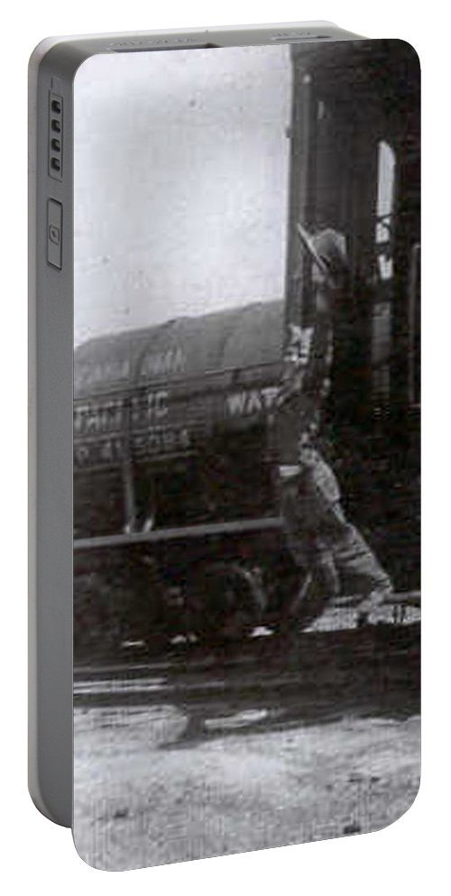 Classic Black And White Old Photo Pioneers Old Days 1900s Old Train Portable Battery Charger featuring the photograph Freedom To Roam by Andrea Lawrence