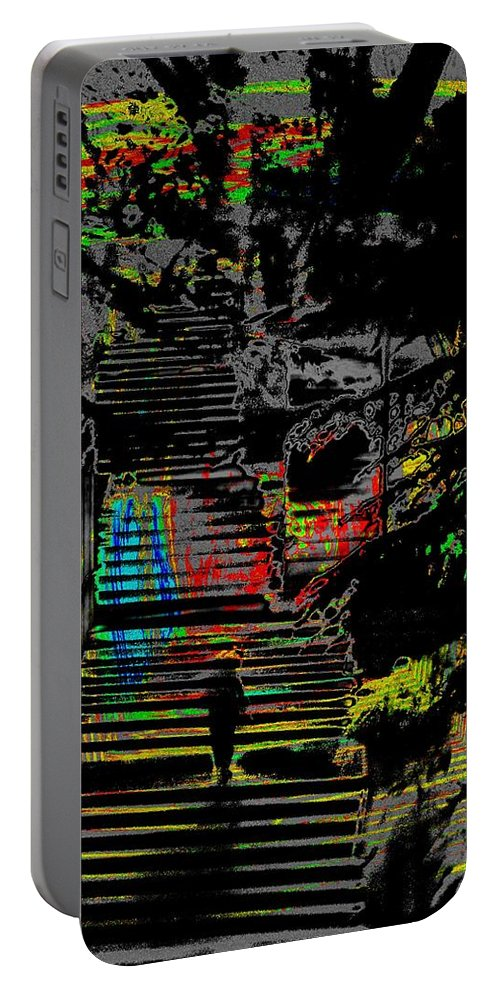 Seattle Portable Battery Charger featuring the digital art Freeway Park Steps by Tim Allen